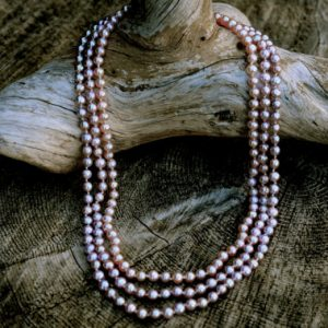 classic 3 strand fine pink pearl necklace etsy