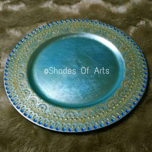 henna decorated charger plate