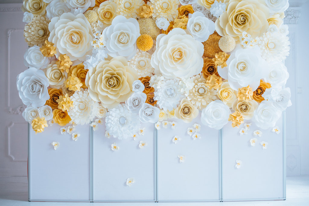 Large Luxury Paper Flowers Backdrop The Wedding Shop