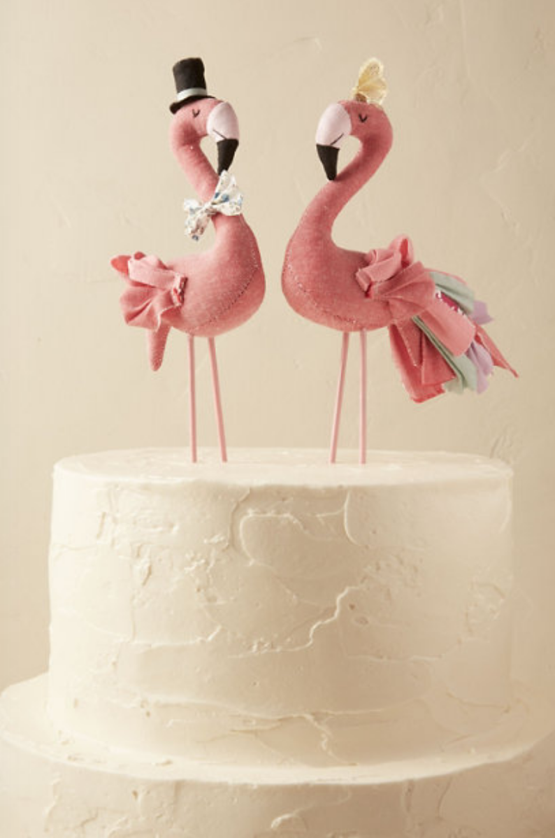 Mr Mrs Flamingo Cake Topper